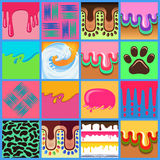 Colored seamless pattern drips set Royalty Free Stock Photo