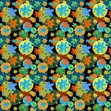 Colored seamless pattern with flowers and circles stock illustration