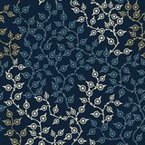 Colored seamless pattern with leaf in blue Stock Images