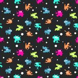 Colored seamless pattern with monsters. Vector illustration. Colored seamless pattern with bright monsters on black background. Vector illustration Vector Illustration