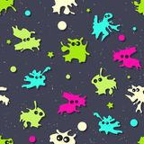 Colored seamless pattern with monsters. Vector illustration. Colored seamless pattern with bright monsters on dark background. Vector illustration vector illustration