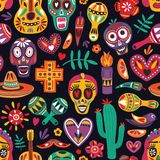 Colored seamless pattern with traditional Dia de los Muertos decorations on black background. Holiday backdrop. Festive vector illustration
