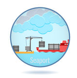 Colored seaport in a circle frame. Colored seaport in a cirlce frame. With clouds Royalty Free Stock Image