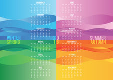 Colored seasonal wave calendar 2016. Template stock illustration