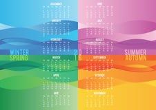 Colored seasonal wave calendar 2016. Template Stock Images