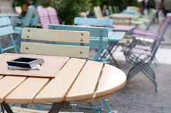 Colored seats and tables Stock Images