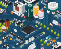 Colored semiconductor electronic components. Isometric city concept with different elements combined in city vector illustration Stock Photos