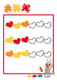 Colored sequence, heart. Colored illustration of a sequence by to complete Stock Photos