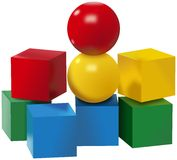 Colored set of balls and cubes toys vector illustration
