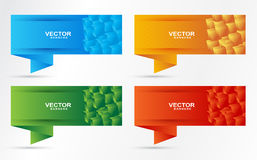 Banner cubes set. Colored set of banner in cubes shape Stock Image