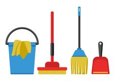 Set of cleaning kit. Vector illustration royalty free illustration