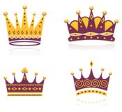 Colored set of crowns. Set of four coloured crowns Royalty Free Stock Image