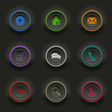 Colored set dark round buttons for web template Royalty Free Stock Images