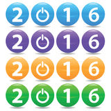 2016 colored set. Set of four colored variants of text 2016 with power symbol, on white background Royalty Free Stock Photo