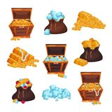 Colored set with full chests and bags of treasures, piles of golden bars, coins and diamonds. Colorful flat vector Royalty Free Stock Photography