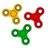 Set of hand fidget spinners. Vector illustration royalty free illustration