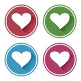 Colored set of heart icon. Vector illustration royalty free illustration