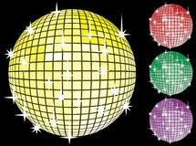 Colored set of mirror disco-balls. Royalty Free Stock Photo