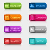 Colored set rectangular square web buttons Royalty Free Stock Image