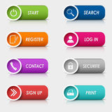 Colored set rectangular web buttons template Stock Photography
