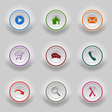 Colored set round buttons for web template Royalty Free Stock Image