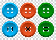 Colored set of round clothing buttons with thread. Vector illustration royalty free illustration