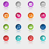 Colored set round web buttons icons element Royalty Free Stock Image