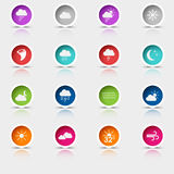 Colored set round web buttons weather Stock Photos
