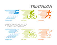 Colored set of silhouettes of triathlete Stock Image