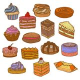 Colored Set of Sweets in Hand Drawn Doodle Style. Colored Set of Cupcakes Cakes and Pastries. Sweets Collection in Hand Drawn Doodle Style. Vector Illustration Royalty Free Stock Images