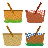 Colored set of wicker baskets. Baskets in the grass, for a meal, for a picnic. Vector vector illustration
