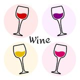 Colored set of wine glasses. Vector stock illustration