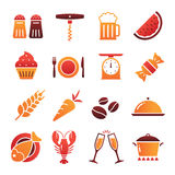Colored Shaded Food Icons Collection. A collection of funny Icons regarding all type of food and drinks Royalty Free Stock Photography
