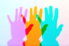 Colored shadows of hand Royalty Free Stock Photography