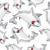 Colored sharks in retro style, seamless pattern.  Royalty Free Stock Photography