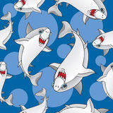 Colored sharks in retro style, seamless pattern.  Stock Photo