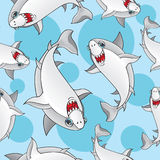 Colored sharks in retro style, seamless pattern Stock Photos