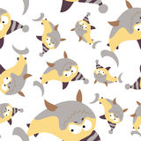 Colored sharks in retro style, seamless pattern.  Royalty Free Stock Photo