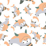 Colored sharks in retro style, seamless pattern Stock Photography
