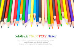 Colored sharp pencils & text Royalty Free Stock Image