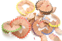 Colored Shavings from pencils Royalty Free Stock Image