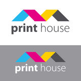 Colored sheets of paper folded house. Printing services, express print & copy, media center, print house, photo studio. Logo templ. Colored sheets of paper Royalty Free Stock Images