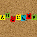 Colored sheets of paper with word Success pinned to a cork messa Royalty Free Stock Photos