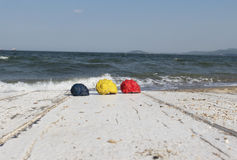 Colored shells on the sea background. stock image