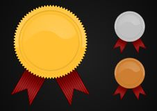 Colored shiny blank medals Royalty Free Stock Photography