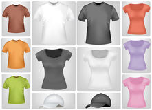 Colored shirts and caps. Royalty Free Stock Photos