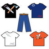 Colored shirts and pants Stock Images