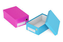 Colored shoeboxes, 3D rendering Royalty Free Stock Photo