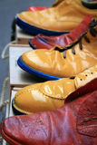 Colored shoes. A shot of colored used shoes Stock Photography