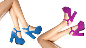 Colored shoes worn by female legs on white Stock Images